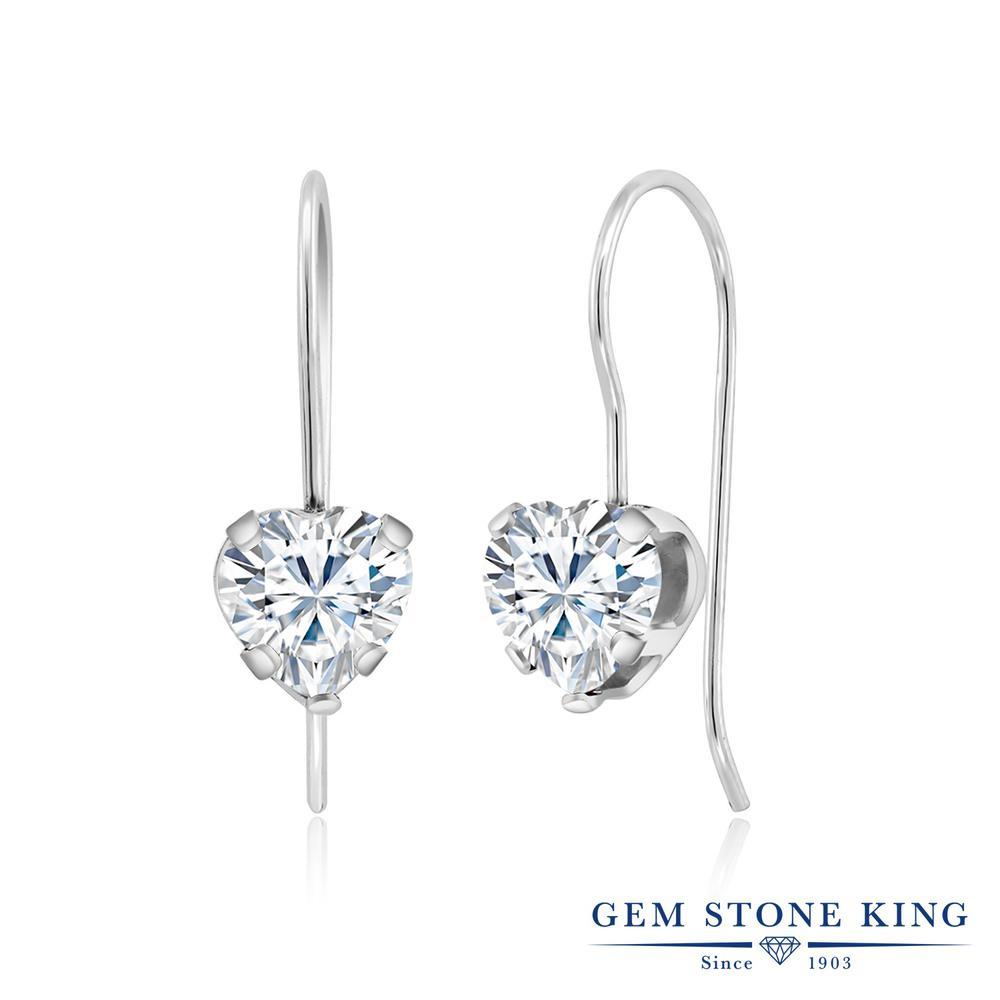 Gem Stone King 1.6カラット Forever Brilliant モアサナイト Charles & Colvard シルバー925 ピアス レディース モアッサナイト シンプル ぶら下がり フレンチワイヤー 金属アレルギー対応 誕生日プレゼント