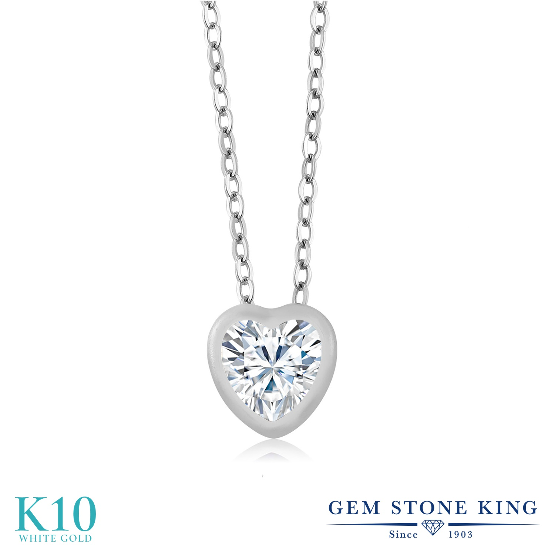 Gem Stone King 0.8カラット Forever Brilliant モアサナイト Charles & Colvard 10金 ホワイトゴールド(K10) ネックレス ペンダント レディース モアッサナイト 一粒 シンプル 金属アレルギー対応 誕生日プレゼント