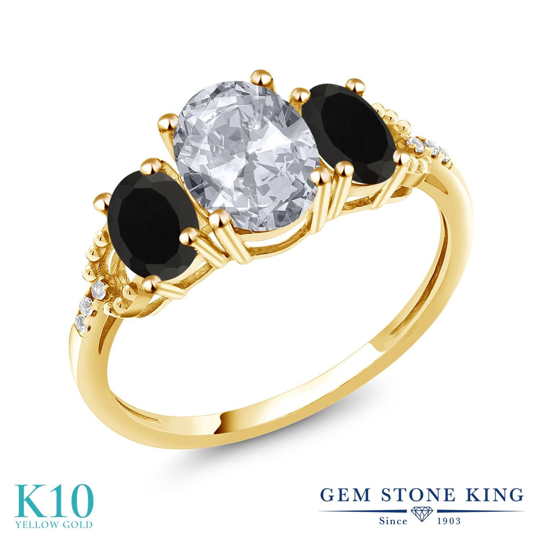 Gem Stone King 2.34カラット 天然 トパーズ (無色透明) 天然 オニキス 天然 ダイヤモンド 10金 イエローゴールド(K10) 指輪 リング レディース 大粒 スリーストーン 天然石 11月 誕生石 金属アレルギー対応 誕生日プレゼント