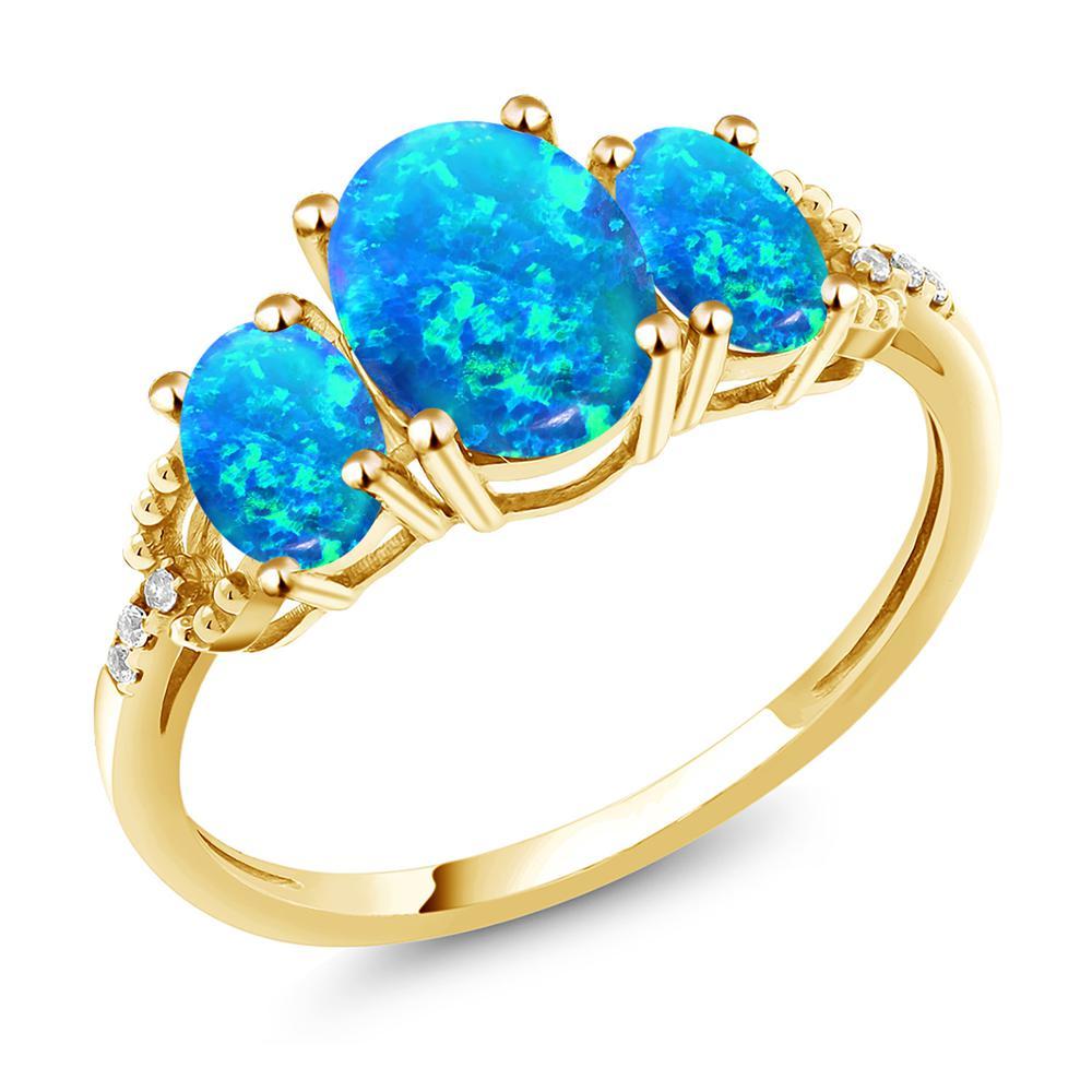 2.1カラット シミュレイテッド ブルーオパール 天然 ダイヤモンド 10金 イエローゴールド(K10) 指輪 レディース リング 大粒 スリーストーン 10月 誕生石 金属アレルギー対応 誕生日プレゼント