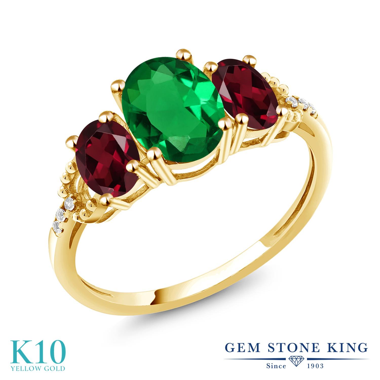Gem Stone King 1.79カラット ナノエメラルド 天然 ロードライトガーネット 天然 ダイヤモンド 10金 イエローゴールド(K10) 指輪 リング レディース スリーストーン 金属アレルギー対応 誕生日プレゼント