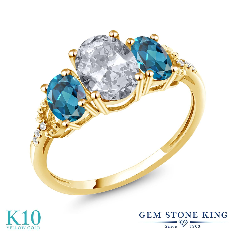 Gem Stone King 2.74カラット 天然 トパーズ (無色透明) 天然 ロンドンブルートパーズ 天然 ダイヤモンド 10金 イエローゴールド(K10) 指輪 リング レディース 大粒 スリーストーン 天然石 11月 誕生石 金属アレルギー対応 誕生日プレゼント