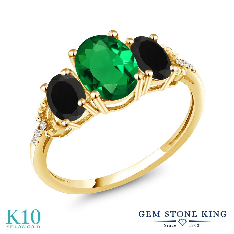 Gem Stone King 1.59カラット ナノエメラルド 天然 オニキス 天然 ダイヤモンド 10金 イエローゴールド(K10) 指輪 リング レディース スリーストーン 金属アレルギー対応 誕生日プレゼント