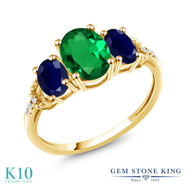 Gem Stone King 1.89カラット ナノエメラルド 天然 サファイア 天然 ダイヤモンド 10金 イエローゴールド(K10) 指輪 リング レディース スリーストーン 金属アレルギー対応 誕生日プレゼント