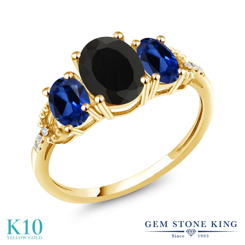 Gem Stone King 2.84カラット 天然 オニキス シミュレイテッド サファイア 天然 ダイヤモンド 10金 イエローゴールド(K10) 指輪 リング レディース 大粒 スリーストーン 天然石 8月 誕生石 金属アレルギー対応 誕生日プレゼント