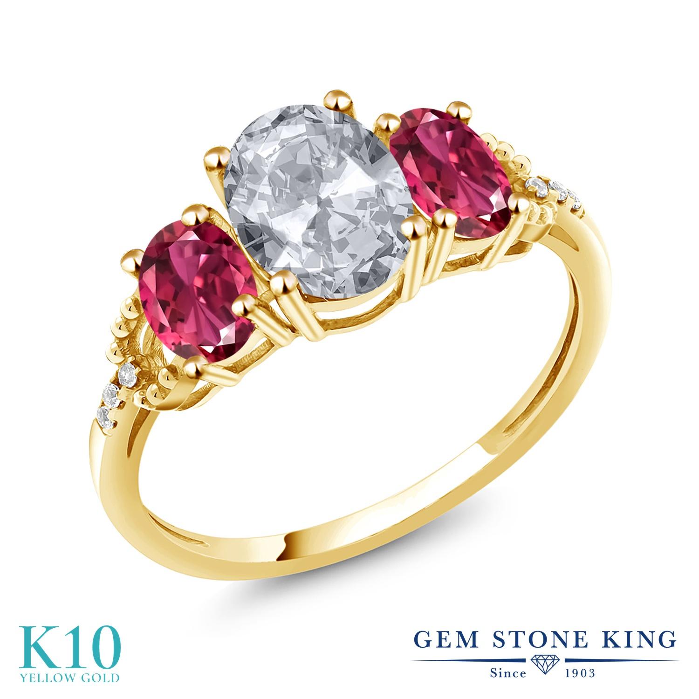 Gem Stone King 2.3カラット 天然 トパーズ (無色透明) AAAグレード 天然 ピンクトルマリン 天然 ダイヤモンド 10金 イエローゴールド(K10) 指輪 リング レディース 大粒 スリーストーン 天然石 11月 誕生石 金属アレルギー対応 誕生日プレゼント