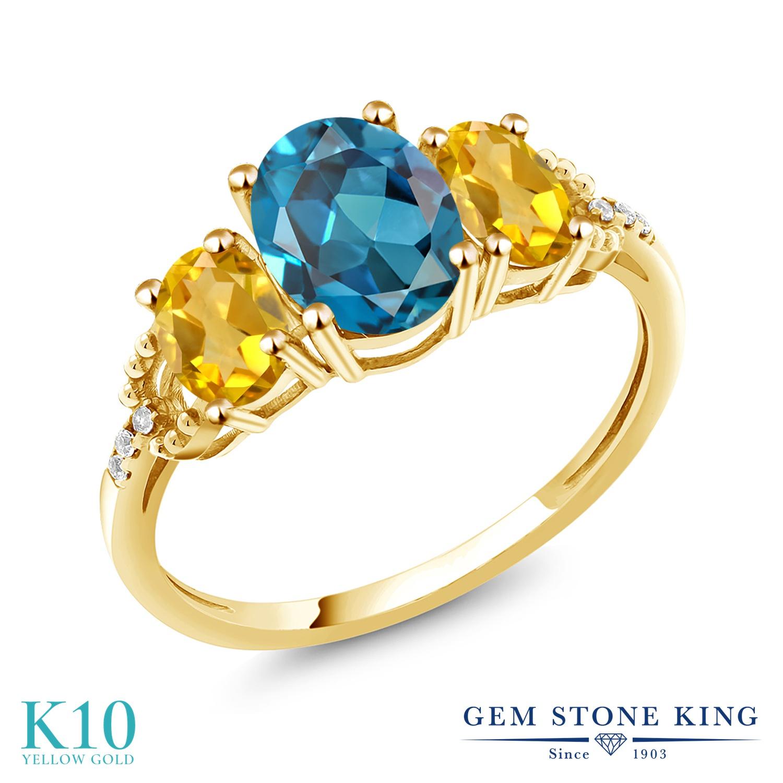Gem Stone King 2.44カラット 天然 ロンドンブルートパーズ 天然 シトリン 天然 ダイヤモンド 10金 イエローゴールド(K10) 指輪 リング レディース 大粒 スリーストーン 天然石 11月 誕生石 金属アレルギー対応 誕生日プレゼント