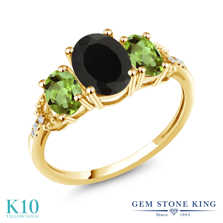 Gem Stone King 2.64カラット 天然 オニキス 天然石 ペリドット 天然 ダイヤモンド 10金 イエローゴールド(K10) 指輪 リング レディース 大粒 スリーストーン 8月 誕生石 金属アレルギー対応 誕生日プレゼント