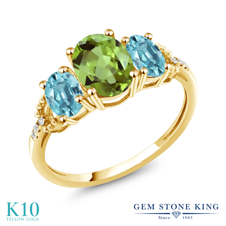 Gem Stone King 2.76カラット 天然石 ペリドット 天然石 ブルージルコン 天然 ダイヤモンド 10金 イエローゴールド(K10) 指輪 リング レディース 大粒 スリーストーン 8月 誕生石 金属アレルギー対応 誕生日プレゼント