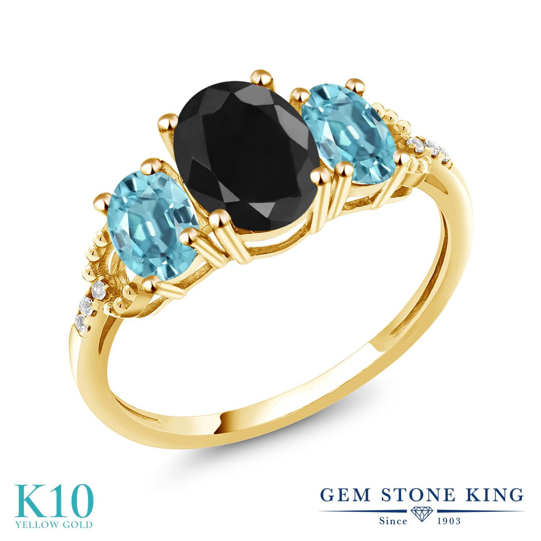 Gem Stone King 3カラット 天然 ブラックサファイア 天然石 ブルージルコン 天然 ダイヤモンド 10金 イエローゴールド(K10) 指輪 リング レディース 大粒 スリーストーン 9月 誕生石 金属アレルギー対応 誕生日プレゼント