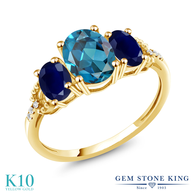 Gem Stone King 2.64カラット 天然 ロンドンブルートパーズ 天然 サファイア 天然 ダイヤモンド 10金 イエローゴールド(K10) 指輪 リング レディース 大粒 スリーストーン 天然石 11月 誕生石 金属アレルギー対応 誕生日プレゼント