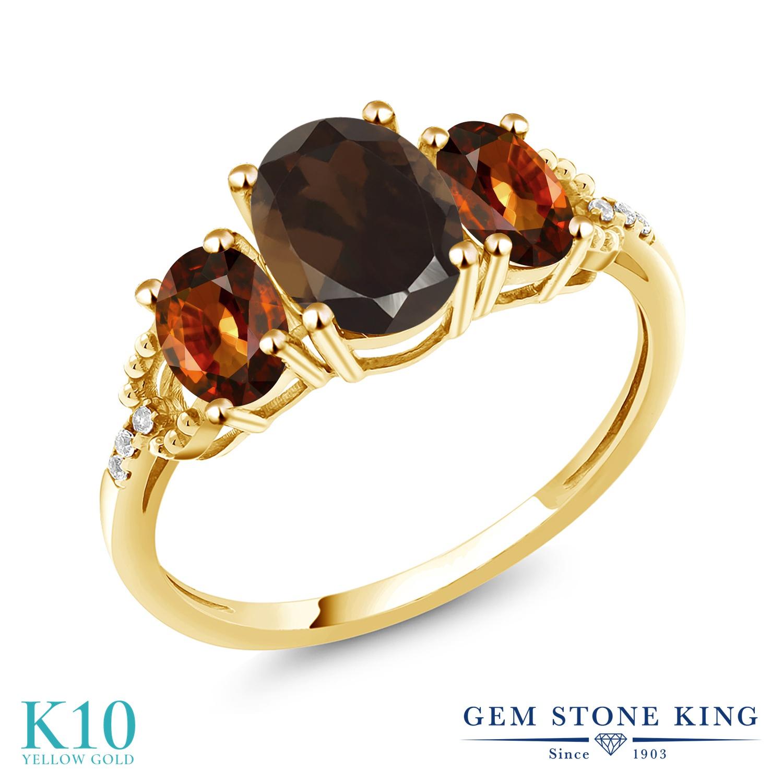 Gem Stone King 2.89カラット 天然 スモーキークォーツ (ブラウン) 天然石 ジルコン (ブラウン) 天然 ダイヤモンド 10金 イエローゴールド(K10) 指輪 リング レディース 大粒 スリーストーン 金属アレルギー対応 誕生日プレゼント