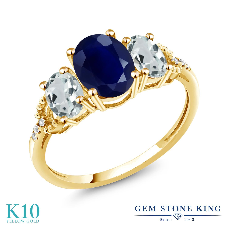 Gem Stone King 2.84カラット 天然 サファイア 天然 アクアマリン 天然 ダイヤモンド 10金 イエローゴールド(K10) 指輪 リング レディース 大粒 スリーストーン 天然石 9月 誕生石 金属アレルギー対応 誕生日プレゼント