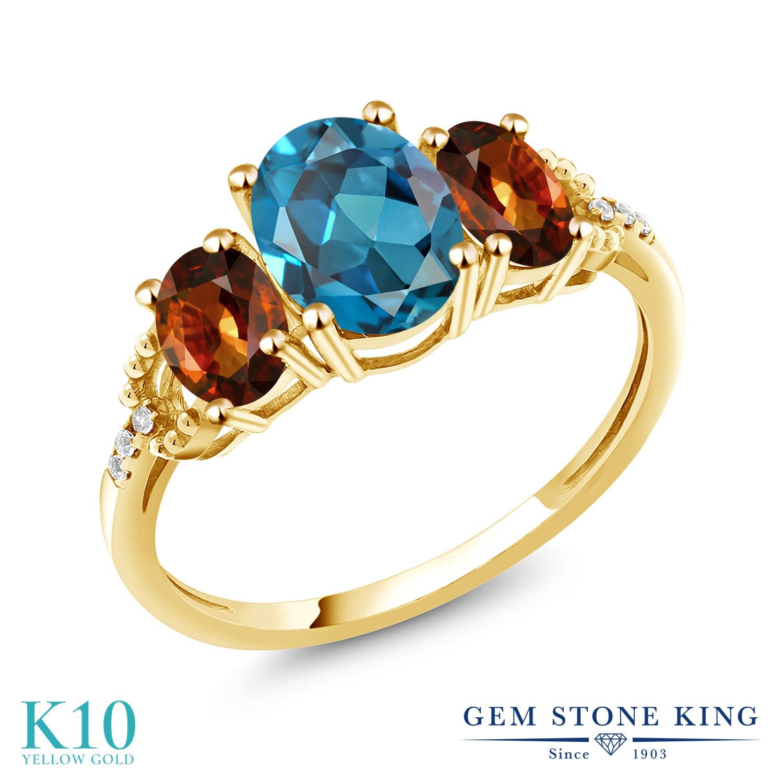 Gem Stone King 3.19カラット 天然 ロンドンブルートパーズ 天然石 ジルコン (ブラウン) 天然 ダイヤモンド 10金 イエローゴールド(K10) 指輪 リング レディース 大粒 スリーストーン 11月 誕生石 金属アレルギー対応 誕生日プレゼント