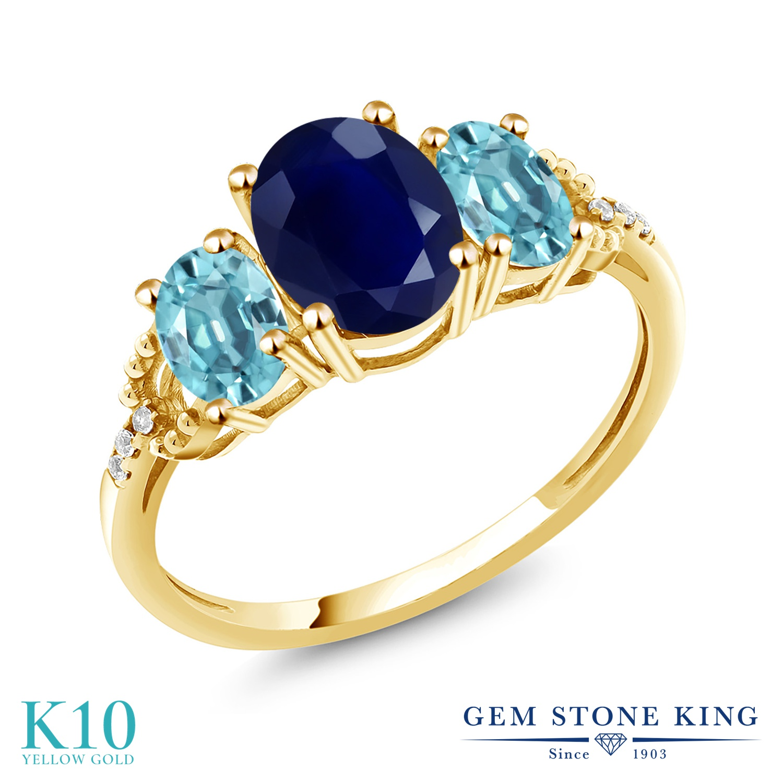Gem Stone King 3.14カラット 天然 サファイア 天然石 ブルージルコン 天然 ダイヤモンド 10金 イエローゴールド(K10) 指輪 リング レディース 大粒 スリーストーン 9月 誕生石 金属アレルギー対応 誕生日プレゼント