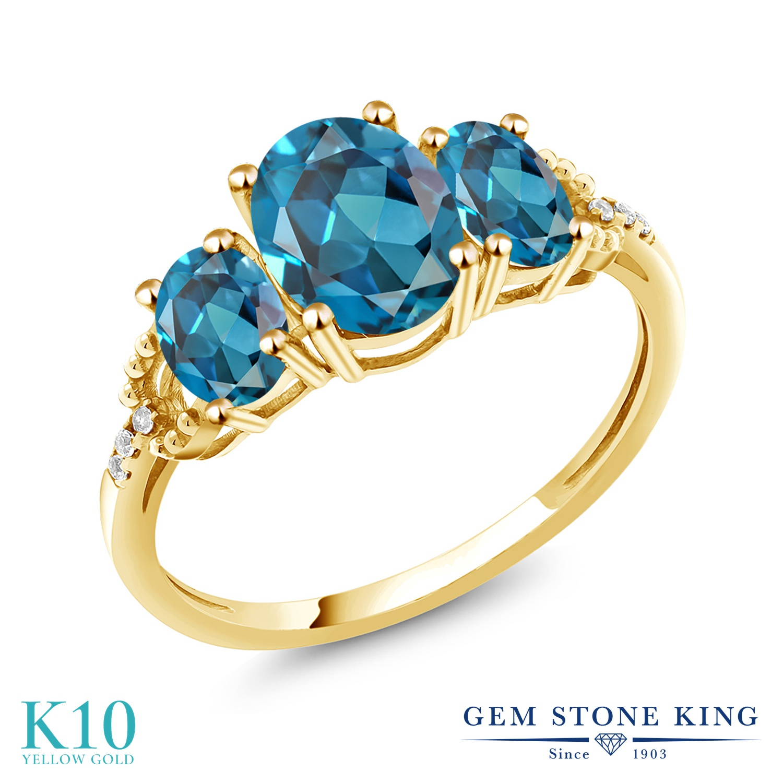 Gem Stone King 2.74カラット 天然 ロンドンブルートパーズ 天然 ダイヤモンド 10金 イエローゴールド(K10) 指輪 リング レディース 大粒 スリーストーン 天然石 11月 誕生石 金属アレルギー対応 誕生日プレゼント