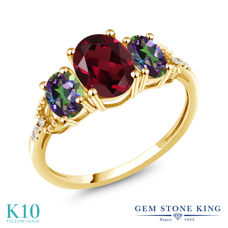 Gem Stone King 2.59カラット 天然 ロードライトガーネット 天然石 ミスティックトパーズ (グリーン) 天然 ダイヤモンド 10金 イエローゴールド(K10) 指輪 リング レディース 大粒 スリーストーン 金属アレルギー対応 誕生日プレゼント
