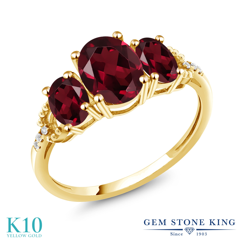 Gem Stone King 2.39カラット 天然 ロードライトガーネット 天然 ダイヤモンド 10金 イエローゴールド(K10) 指輪 リング レディース 大粒 スリーストーン 天然石 金属アレルギー対応 誕生日プレゼント