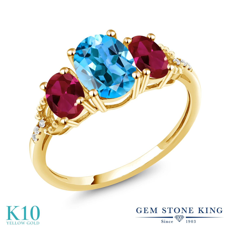 Gem Stone King 3.54カラット 天然 スイスブルートパーズ 合成ルビー 天然 ダイヤモンド 10金 イエローゴールド(K10) 指輪 リング レディース 大粒 スリーストーン 天然石 11月 誕生石 金属アレルギー対応 誕生日プレゼント