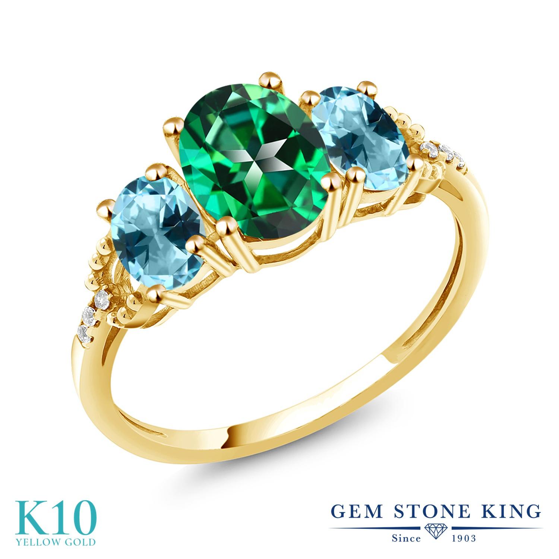 Gem Stone King 2.36カラット 天然石 トパーズ レインフォレスト (スワロフスキー 天然石シリーズ) 天然石 アイスブルートパーズ (スワロフスキー 天然石シリーズ) 天然 ダイヤモンド 10金 イエローゴールド(K10) 指輪 リング レディース 大粒 スリーストーン