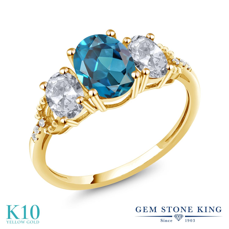 Gem Stone King 2.74カラット 天然 ロンドンブルートパーズ 天然 トパーズ (無色透明) 天然 ダイヤモンド 10金 イエローゴールド(K10) 指輪 リング レディース 大粒 スリーストーン 天然石 11月 誕生石 金属アレルギー対応 誕生日プレゼント