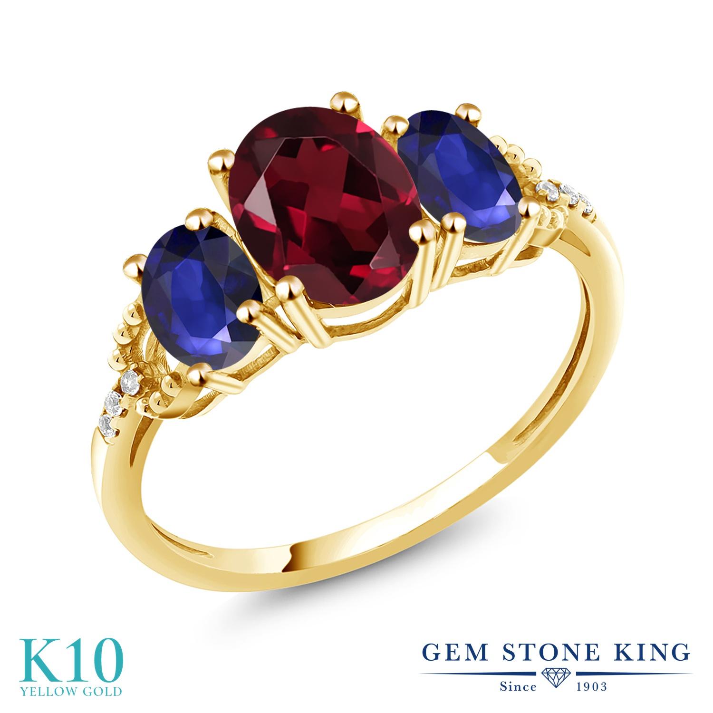 Gem Stone King 5.04カラット 天然 ロードライトガーネット 天然 サファイア 天然 ダイヤモンド 10金 イエローゴールド(K10) 指輪 リング レディース 大粒 スリーストーン 天然石 金属アレルギー対応 誕生日プレゼント