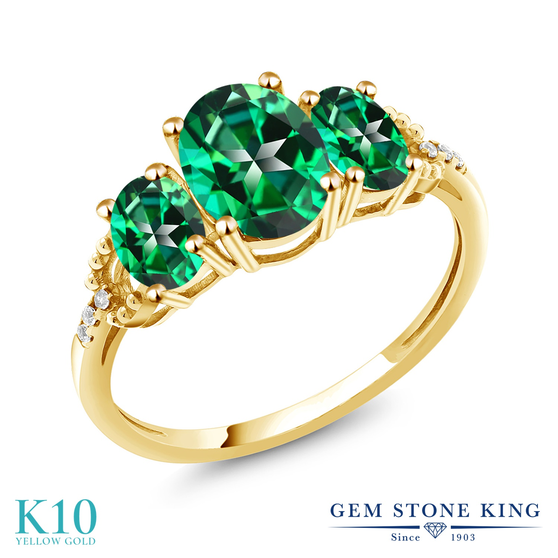 Gem Stone King 2.36カラット 天然石 トパーズ レインフォレスト (スワロフスキー 天然石シリーズ) 天然 ダイヤモンド 10金 イエローゴールド(K10) 指輪 リング レディース 大粒 スリーストーン 金属アレルギー対応 誕生日プレゼント