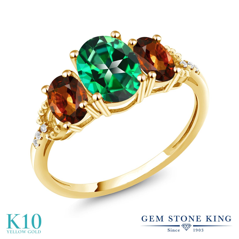 Gem Stone King 3.01カラット 天然石 トパーズ レインフォレスト (スワロフスキー 天然石シリーズ) 天然石 ジルコン (ブラウン) 天然 ダイヤモンド 10金 イエローゴールド(K10) 指輪 リング レディース 大粒 スリーストーン 金属アレルギー対応 誕生日プレゼント
