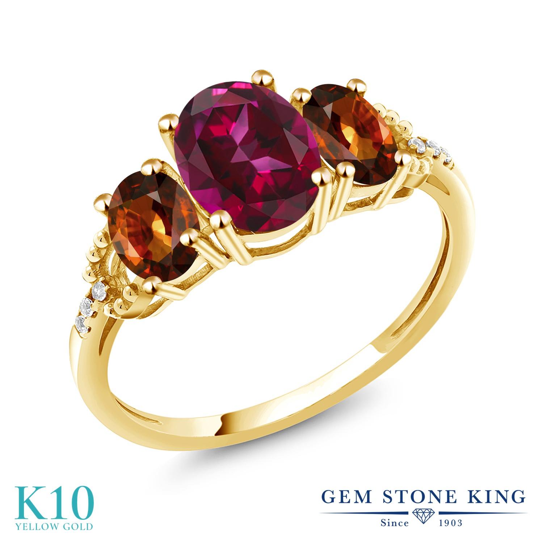 Gem Stone King 3.01カラット 天然石 レッドトパーズ (スワロフスキー 天然石シリーズ) 天然石 ジルコン (ブラウン) 天然 ダイヤモンド 10金 イエローゴールド(K10) 指輪 リング レディース 大粒 スリーストーン 金属アレルギー対応 誕生日プレゼント