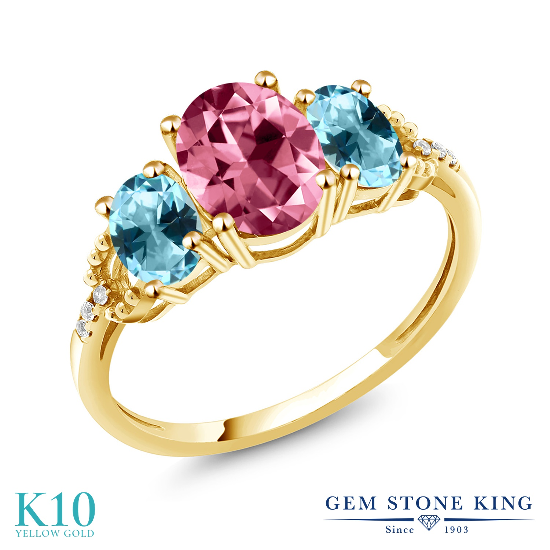 Gem Stone King 2.36カラット 天然石 ピンクトパーズ (スワロフスキー 天然石シリーズ) 天然石 アイスブルートパーズ (スワロフスキー 天然石シリーズ) 天然 ダイヤモンド 10金 イエローゴールド(K10) 指輪 リング レディース 大粒 スリーストーン 金属アレルギー対応