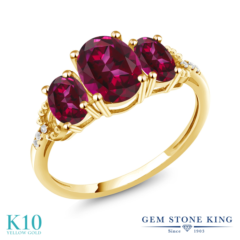 Gem Stone King 2.36カラット 天然石 レッドトパーズ (スワロフスキー 天然石シリーズ) 天然 ダイヤモンド 10金 イエローゴールド(K10) 指輪 リング レディース 大粒 スリーストーン 金属アレルギー対応 誕生日プレゼント
