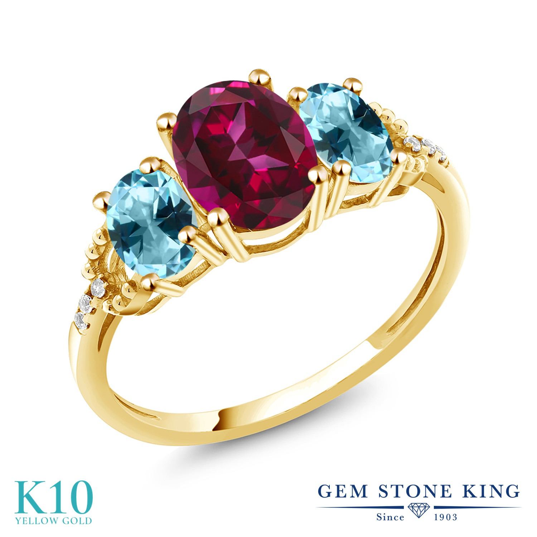 Gem Stone King 2.36カラット 天然石 レッドトパーズ (スワロフスキー 天然石シリーズ) 天然石 アイスブルートパーズ (スワロフスキー 天然石シリーズ) 天然 ダイヤモンド 10金 イエローゴールド(K10) 指輪 リング レディース 大粒 スリーストーン 金属アレルギー対応