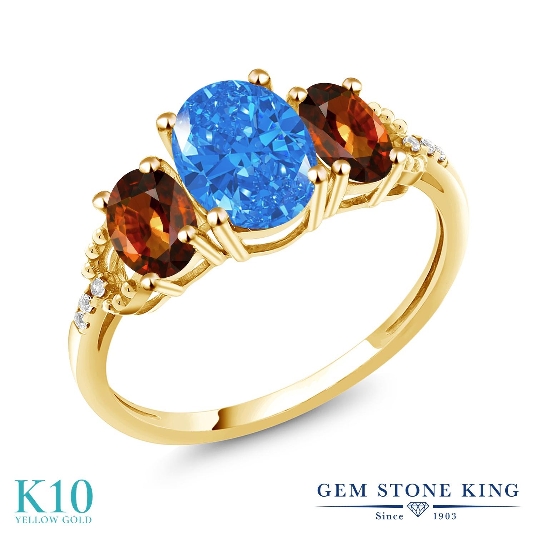 Gem Stone King 2.9カラット スワロフスキージルコニア (ファンシーブルー) 天然石 ジルコン (ブラウン) 天然 ダイヤモンド 10金 イエローゴールド(K10) 指輪 リング レディース CZ 大粒 スリーストーン 金属アレルギー対応 誕生日プレゼント