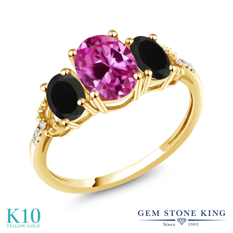 Gem Stone King 2.49カラット 合成ピンクサファイア 天然 オニキス 天然 ダイヤモンド 10金 イエローゴールド(K10) 指輪 リング レディース 大粒 スリーストーン 金属アレルギー対応 誕生日プレゼント