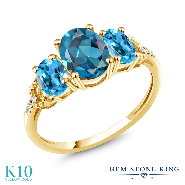 Gem Stone King 2.64カラット 天然 ロンドンブルートパーズ 天然 スイスブルートパーズ 天然 ダイヤモンド 10金 イエローゴールド(K10) 指輪 リング レディース 大粒 スリーストーン 天然石 11月 誕生石 金属アレルギー対応 誕生日プレゼント