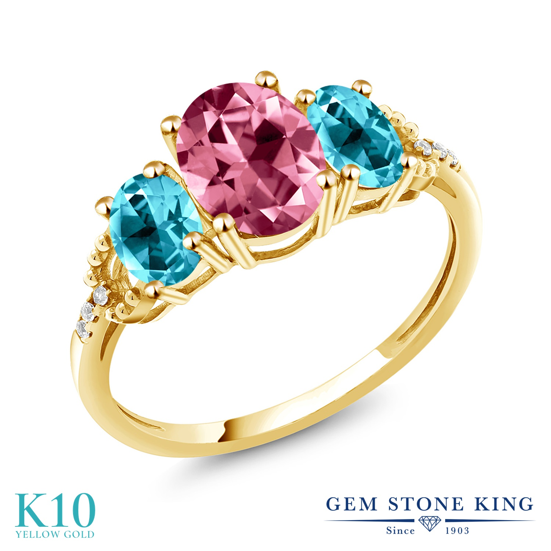 Gem Stone King 3.36カラット 天然石 ピンクトパーズ (スワロフスキー 天然石シリーズ) 天然石 パライバトパーズ (スワロフスキー 天然石シリーズ) 天然 ダイヤモンド 10金 イエローゴールド(K10) 指輪 リング レディース 大粒 スリーストーン 金属アレルギー対応
