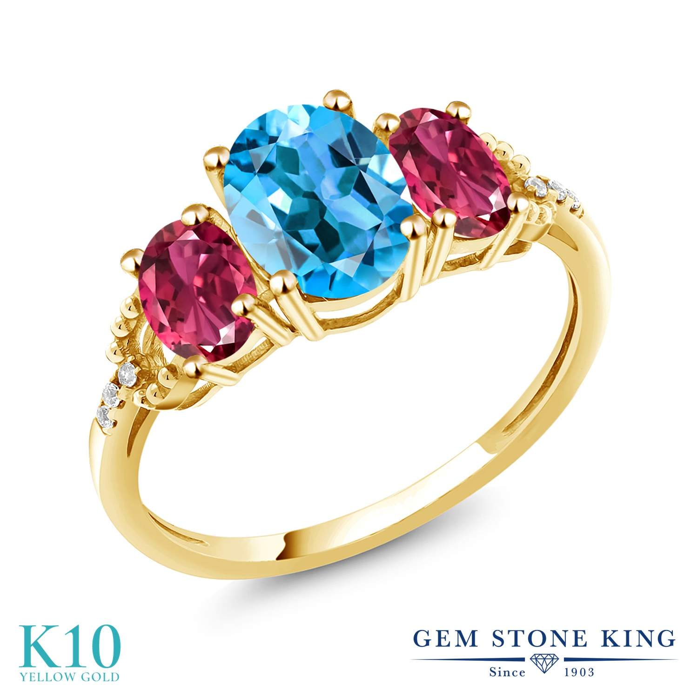 Gem Stone King 2.3カラット 天然 スイスブルートパーズ AAAグレード 天然 ピンクトルマリン 天然 ダイヤモンド 10金 イエローゴールド(K10) 指輪 リング レディース 大粒 スリーストーン 天然石 11月 誕生石 金属アレルギー対応 誕生日プレゼント