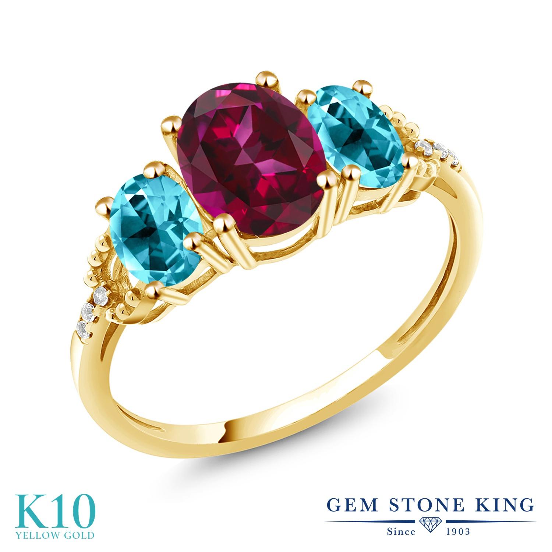 Gem Stone King 3.36カラット 天然石 レッドトパーズ (スワロフスキー 天然石シリーズ) 天然石 パライバトパーズ (スワロフスキー 天然石シリーズ) 天然 ダイヤモンド 10金 イエローゴールド(K10) 指輪 リング レディース 大粒 スリーストーン 金属アレルギー対応