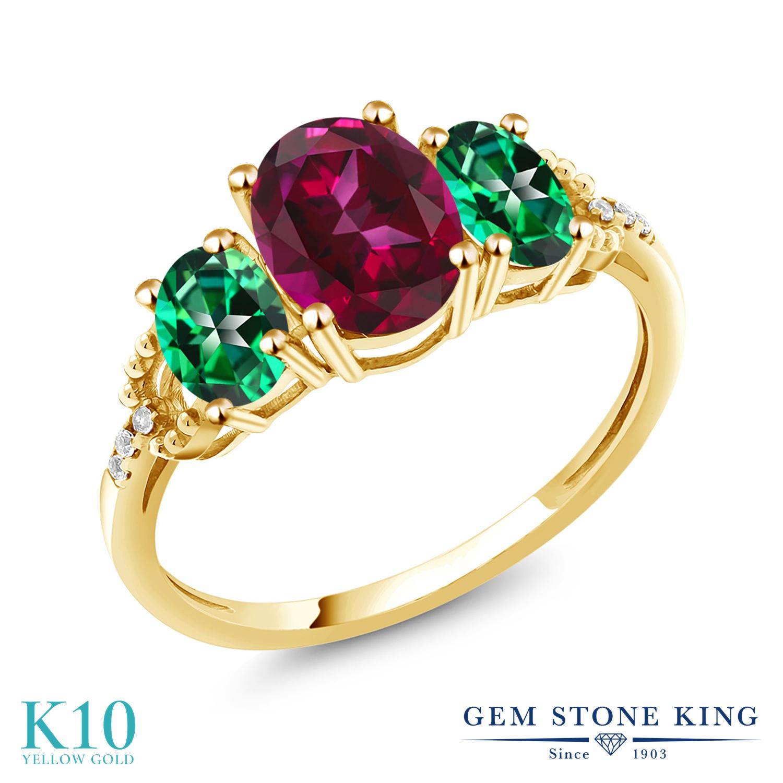 Gem Stone King 2.36カラット 天然石 レッドトパーズ (スワロフスキー 天然石シリーズ) 天然石 トパーズ レインフォレスト (スワロフスキー 天然石シリーズ) 天然 ダイヤモンド 10金 イエローゴールド(K10) 指輪 リング レディース 大粒 スリーストーン 金属アレルギー対応