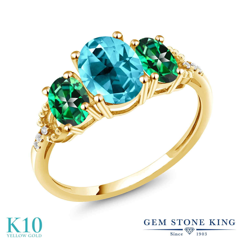 Gem Stone King 2.36カラット 天然石 パライバトパーズ (スワロフスキー 天然石シリーズ) 天然石 トパーズ レインフォレスト (スワロフスキー 天然石シリーズ) 天然 ダイヤモンド 10金 イエローゴールド(K10) 指輪 リング レディース 大粒 スリーストーン 金属アレルギー対応