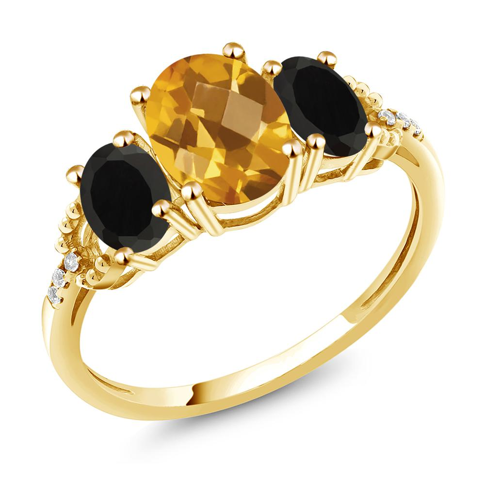 2.09カラット 天然 シトリン 天然 オニキス 天然 ダイヤモンド 10金 イエローゴールド(K10) 指輪 レディース リング 大粒 スリーストーン 天然石 11月 誕生石 金属アレルギー対応 誕生日プレゼント