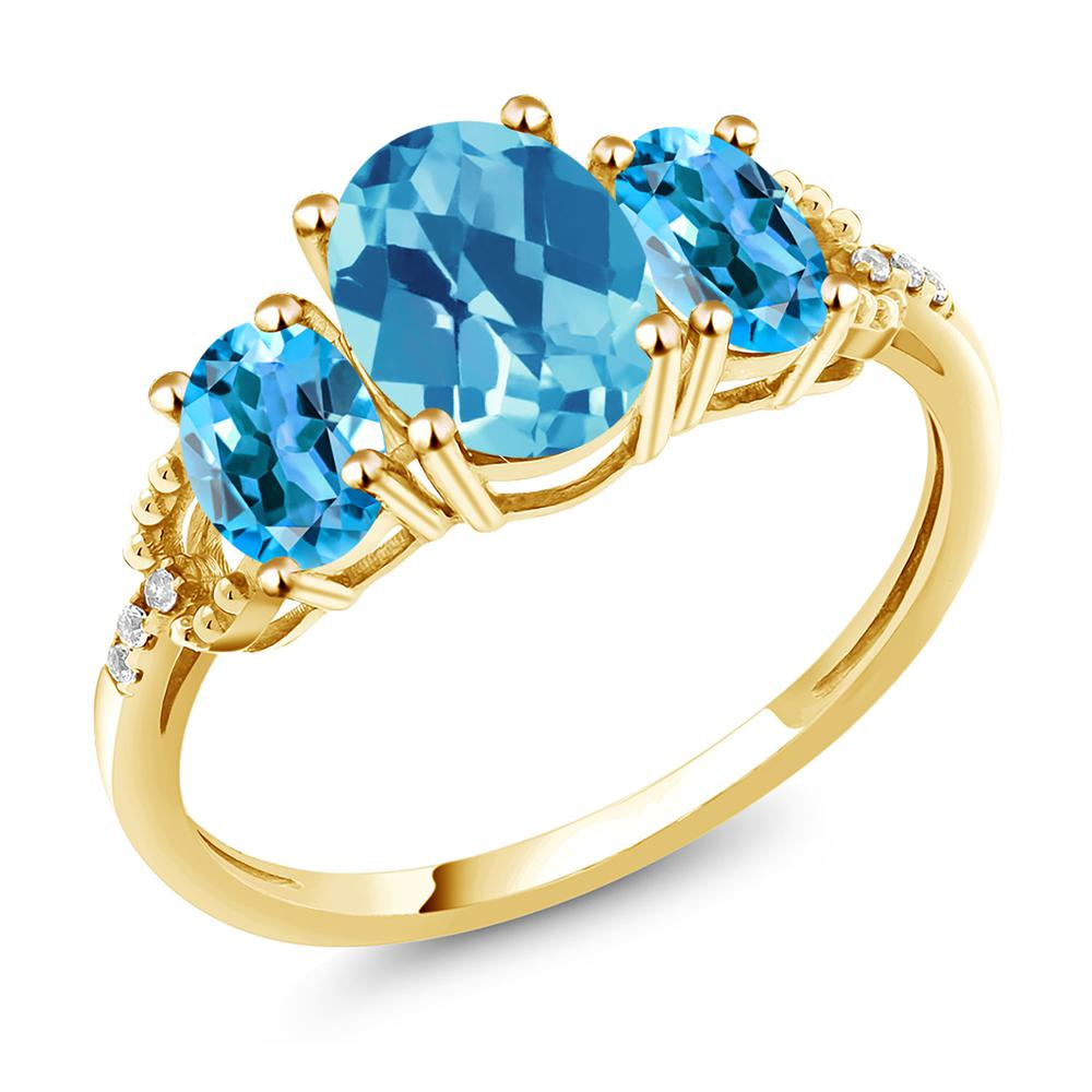 Gem Stone King 2.44カラット 天然 スイスブルートパーズ 天然 ダイヤモンド 10金 イエローゴールド(K10) 指輪 リング レディース 大粒 スリーストーン 天然石 11月 誕生石 金属アレルギー対応 誕生日プレゼント