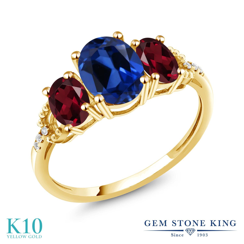 Gem Stone King 2.64カラット シミュレイテッド サファイア 天然 ロードライトガーネット 天然 ダイヤモンド 10金 イエローゴールド(K10) 指輪 リング レディース 大粒 スリーストーン 金属アレルギー対応 誕生日プレゼント