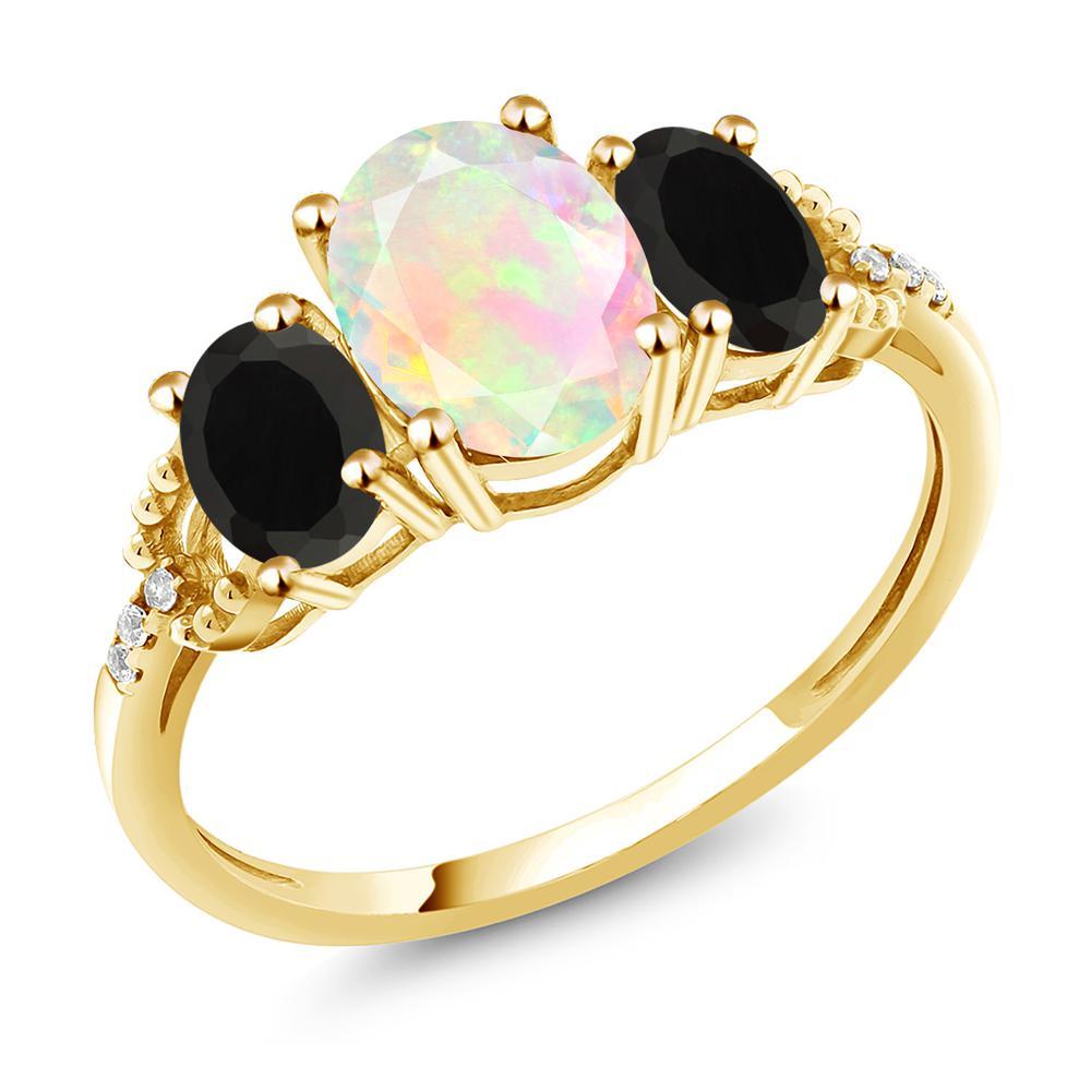 Gem Stone King 1.64カラット 天然 エチオピアンオパール 天然 オニキス 天然 ダイヤモンド 10金 イエローゴールド(K10) 指輪 リング レディース スリーストーン 天然石 金属アレルギー対応 誕生日プレゼント