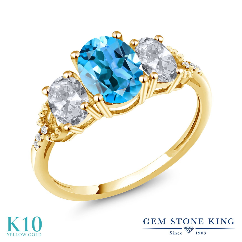 2.74カラット 天然 スイスブルートパーズ 天然 トパーズ (無色透明) 天然 ダイヤモンド 10金 イエローゴールド(K10) 指輪 レディース リング 大粒 スリーストーン 天然石 11月 誕生石 金属アレルギー対応 誕生日プレゼント