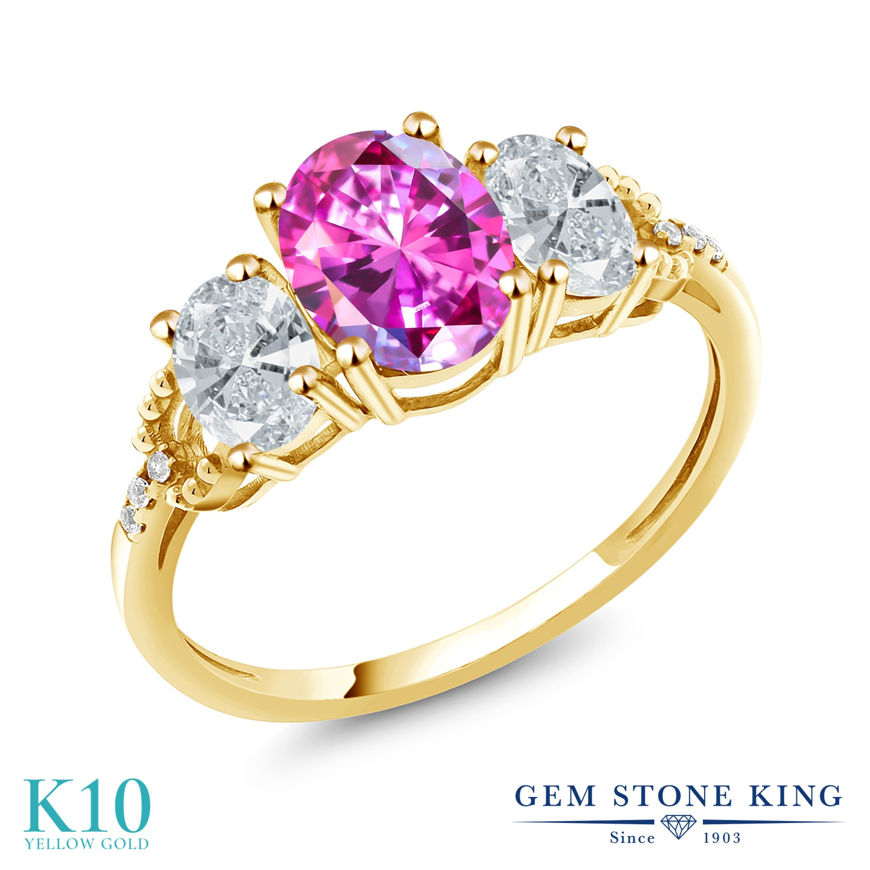 2.11カラット スワロフスキージルコニア (ファンシーパープル) 天然 ダイヤモンド 10金 イエローゴールド(K10) 指輪 レディース リング CZ 大粒 スリーストーン 金属アレルギー対応 誕生日プレゼント