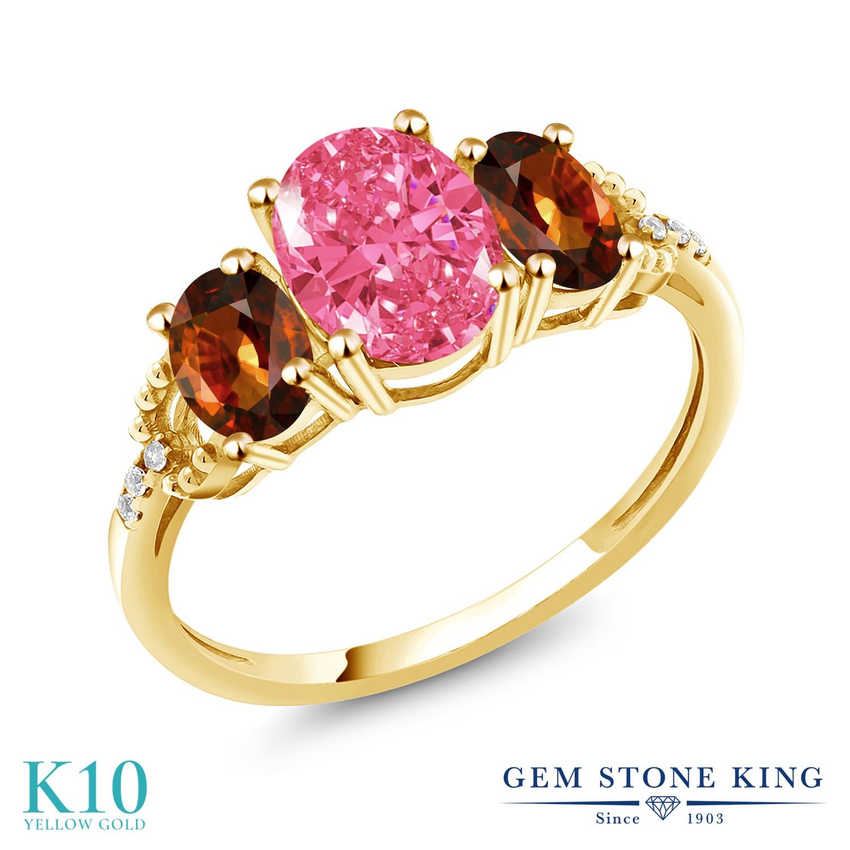 Gem Stone King 2.9カラット スワロフスキージルコニア (ファンシーピンク) 天然石 ジルコン (ブラウン) 天然 ダイヤモンド 10金 イエローゴールド(K10) 指輪 リング レディース CZ 大粒 スリーストーン 金属アレルギー対応 誕生日プレゼント