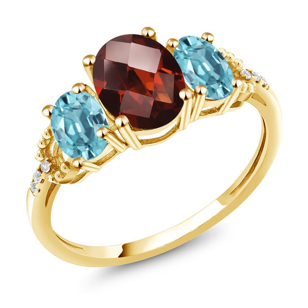 Gem Stone King 2.88カラット 天然 ガーネット 天然石 ブルージルコン 天然 ダイヤモンド 10金 イエローゴールド(K10) 指輪 リング レディース 大粒 スリーストーン 1月 誕生石 金属アレルギー対応 誕生日プレゼント