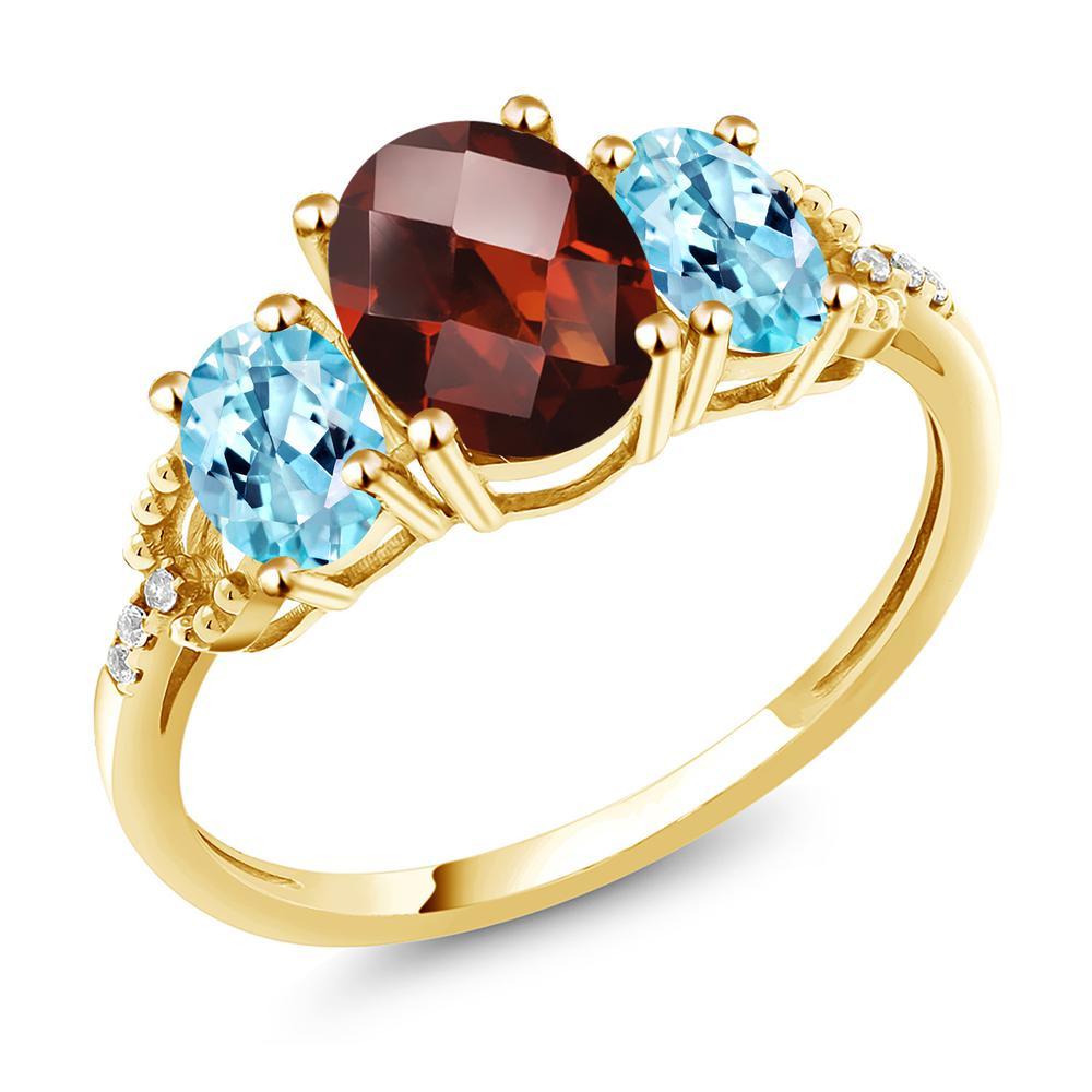 Gem Stone King 2.62カラット 天然 ガーネット 天然 アパタイト 天然 ダイヤモンド 10金 イエローゴールド(K10) 指輪 リング レディース 大粒 スリーストーン 天然石 1月 誕生石 金属アレルギー対応 誕生日プレゼント