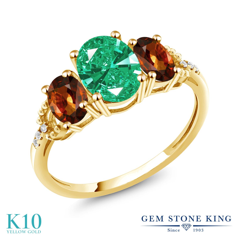Gem Stone King 2.9カラット スワロフスキージルコニア (グリーン) 天然石 ジルコン (ブラウン) 天然 ダイヤモンド 10金 イエローゴールド(K10) 指輪 リング レディース CZ 大粒 スリーストーン 金属アレルギー対応 誕生日プレゼント